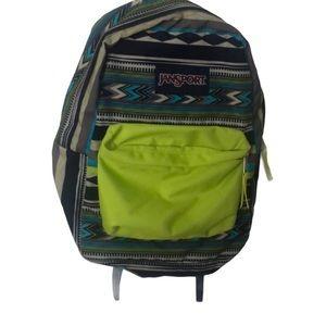 Jansport backpack in patterned in neon